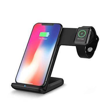 OWSOO Base de carregamento sem fio 2 em 1 telefones inteligentes habilitados para Qi portátil Carregador de carregamento rápido para iPhone X/8/8 Plus/iWatch 1/2/3