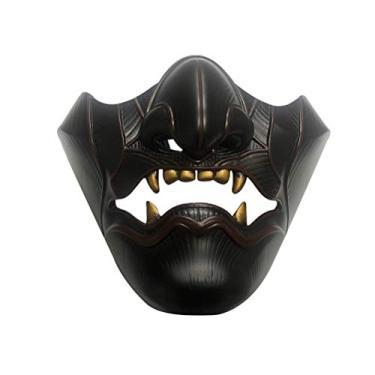 Imagem de Yeaphy Máscara de Halloween, fantasia de fantasma do jogo Ghost of Tsushima para cosplay de Halloween, máscara de rosto de fantasma – ideal para Halloween, carnaval, tema e festas de terror preta