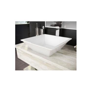 Cuba Pia De Apoio Para Banheiro Toleato Quadrada Gaia 36 Cm Marmorite Branco