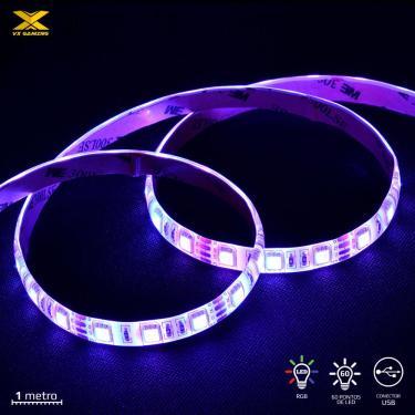 Fita de LED VX Gaming RGB com Controlador Conexao USB 60 Pontos de LED 1 Metro - LRU1 (7908020920717)