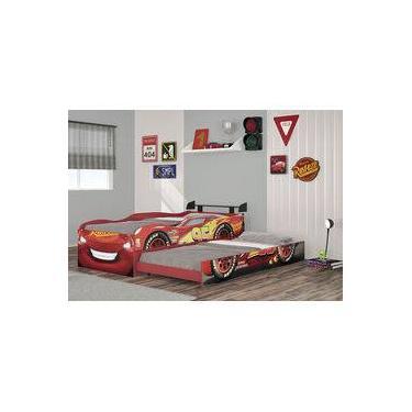 2502511030 Cama Com Cama Auxiliar Carros Disney Fun 8A Vermelha Com Aerofólio Original  Pura Magia