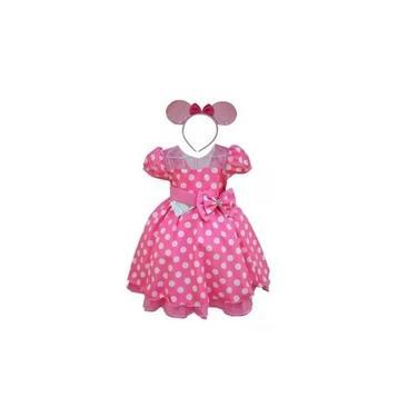 Vestido Festa Infantil Minnie Vermelho Rosa Primeiro Aninho Luxo Bebê