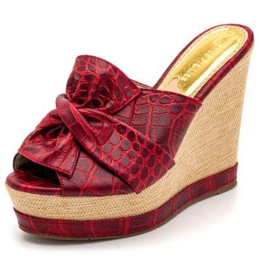 Sandália Tamanco Laço Croco Salto Plataforma Vermelho  feminino