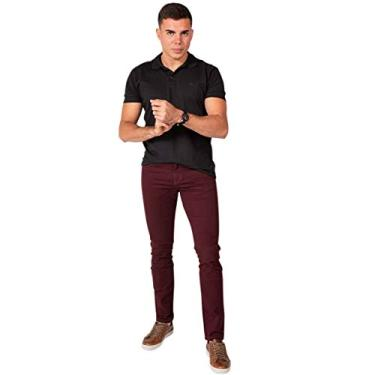 Calça Jeans Sarja Masculina Skinny Slim com Lycra Vinho - 42