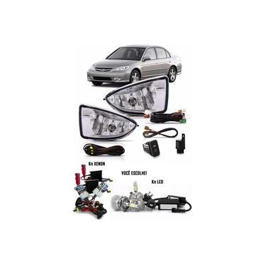 Kit Farol de Milha Neblina Honda Civic 2004 2005 2006 - Interruptor Modelo Original + Kit Xenon H11 6.000K ou 8.000K