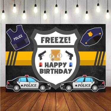 Imagem de Cenários fotográficos, temas polícia, festa de aniversário, pistola, algemas, fundo legal, menino,