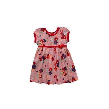 Vestido infantil menina com estampa vermelho floral - Marca Kyly