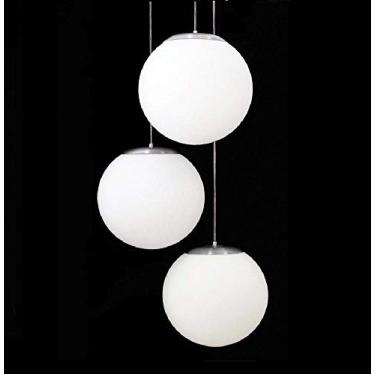 Pendente, Auremar, Triplo Esférico Leitoso Branco 9008/3, Branco, 10 x 20 x 20