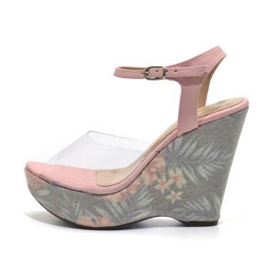 Sandália Anabela Salto Alto Em Cristal E Tecido Floral Palma  feminino