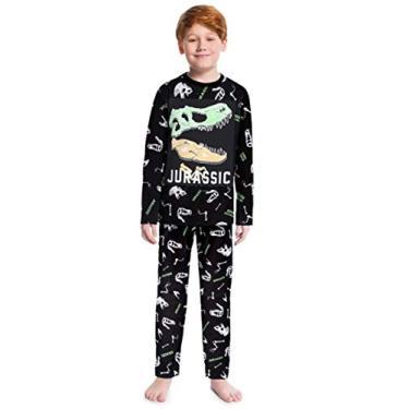 Pijama Infantil Inverno Menino Esqueleto Dinossauro, Brilha No Escuro, Com Anti Mosquito, 2 Peças - Kyly