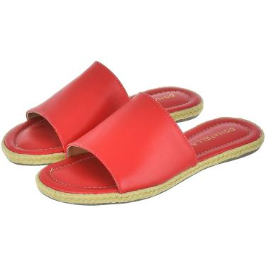 Imagem de Sandália Rasteira Feminina Donatella Shoes Chinelo Slide Corda Vermelho  feminino