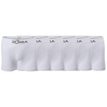 Zorba Kit 6 Cuecas Boxer sem Costura Masculino, Tam G, Branco