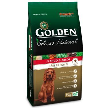Ração Cachorro Filhote Golden Seleção Natural Frango E Arroz 15Kg