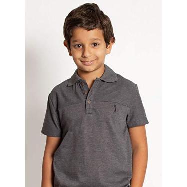 Camisa Polo Aleatory Infantil Lisa Recortada Chumbo-Chumbo-2