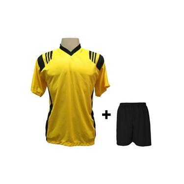 Uniforme Esportivo com 12 camisas modelo Roma Amarelo/Preto + 12 calções modelo Madrid + 1 Goleiro +