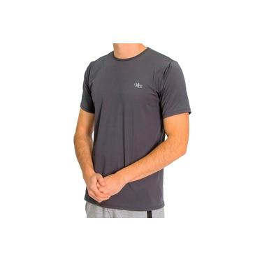 Camiseta Proteção Solar UV DRY Manga Curta Masculina Chumbo