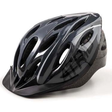 Capacete Para Ciclismo Mtb  2.0 Tamanho G Com Led Traseiro Cinza/Preto - Atrio - Bi171