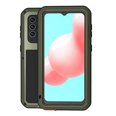 SHUNDA Capa para Samsung Galaxy A32 5G, capa protetora de alumínio resistente à prova de choque, capa rígida de metal à prova de poeira e choque para Samsung Galaxy A32 5G 6,5 polegadas - verde militar