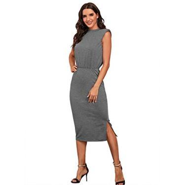 Vestido feminino casual de verão sem mangas com bainha dividida no ombro, Cinza, L