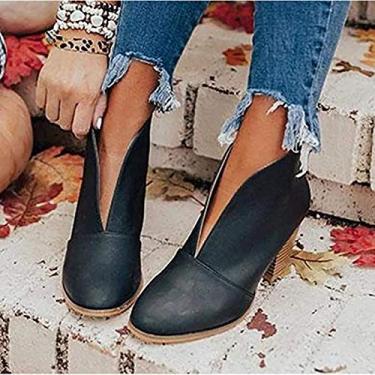 Imagem de PLAYH Botas femininas de inverno V Ankle Boots Cutout salto grosso Ankle Boots Fashion PU Boot para viagens internas (Cor: Preto, Tamanho: 43)