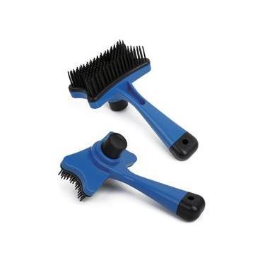 Escova Rasqueadeira para cachorro e gato Auto Limpante Azul Chalesco