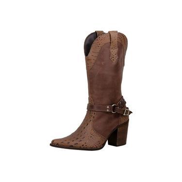 Bota Texana feminina bico fino cano e salto alto couro estampa croco e liso amêndoa Pierrô