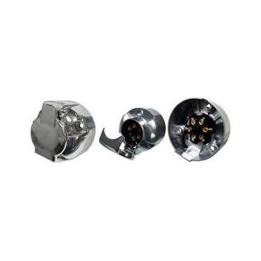 Tomada para carretinha de alumínio 6 polos redonda Fêmea