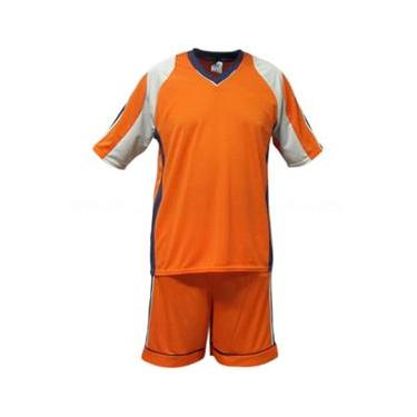 Uniforme Esportivo Texas 1 Camisa de Goleiro Florence + 7 Camisas Texas + 7 Calções - Coral x Cinza x Marinho