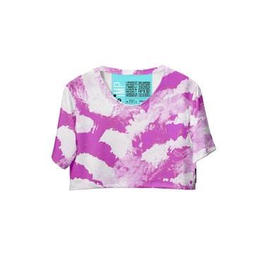 Blusa Cropped Feminina Tie Dye Manga Curta Fashion Moderna Rosa/Branco