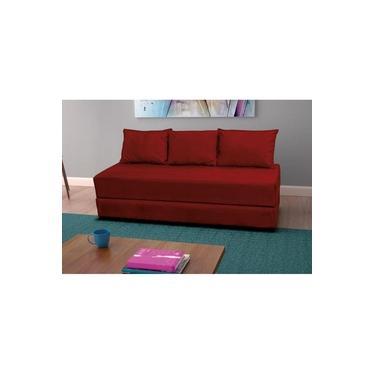 Sofá Cama/Sofanete 3 lugares Drop Móveis Suede amassado vermelho