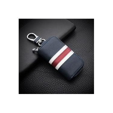 Couro listrado Zipper Bag Car Key Caso Universal personalizado personalizado remoto Caso Controle para Homens e Mulheres (azul)