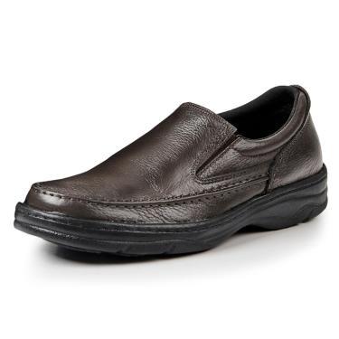 Sapato Social Couro Bergally Ortopédico Elástico Marrom  masculino