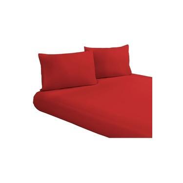 Imagem de Jogo Lençol com Fronhas Vermelho King Size Liso Tecido Microfibra 170 Fios