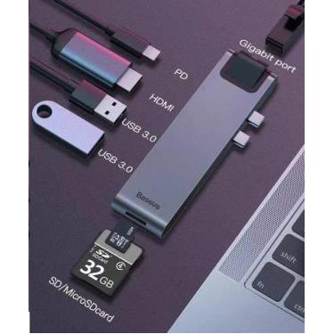 Hub Adaptador Usb-c Thunderbolt 3 Macbook Pro 4k R45 Baseus