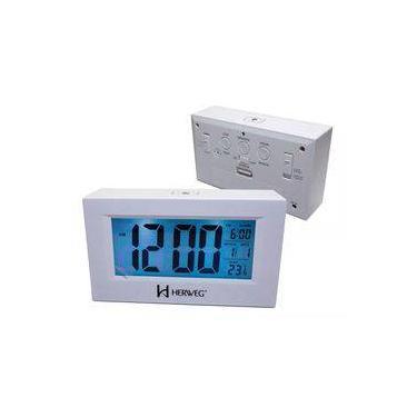 Imagem de Relógio 2972 Despertador Digital Branco Luz Led Herweg