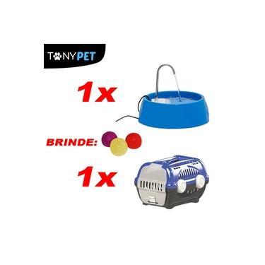 Kit Para Cães e Gatos Caixa de Transporte Azul + Fonte D'Agua Bivolt Azul