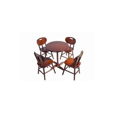 Jogo Mesa De Madeira Com 4 Cadeiras Imbuia - Reisol Móveis
