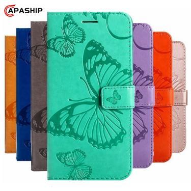 Caso da aleta de couro de gravação para iphone 7 8 plus 6 s 5 5S se borboleta 3d carteira capa para