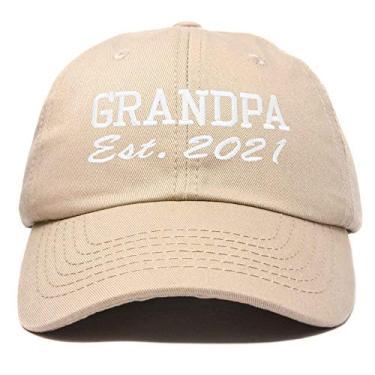 Imagem de Boné DALIX New Grandpa Hat Est 2019 2020 divertido presente bordado Dad chapéu de algodão, Caqui, One Size