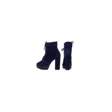 Imagem de Bota Cano Curto Feminina Azul Camurça Cadarço Saldo Alto