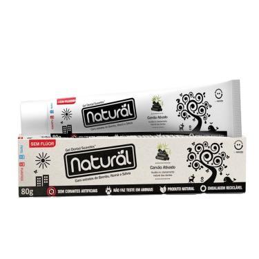 Pasta ou Creme Dental Natural Sem Flúor Carvão Ativado - Extratos de Bambu Romã e Sálvia  80g - Cont