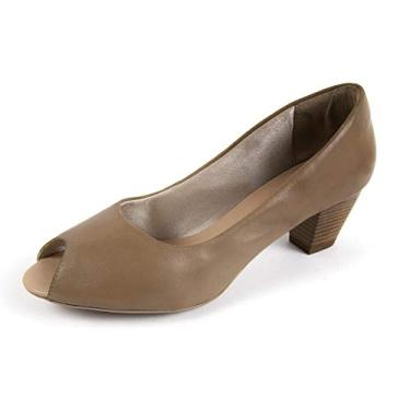 Sapato Scarpin Salto Grosso Linha Social Elegance Miuzzi - 3502 - Taupe