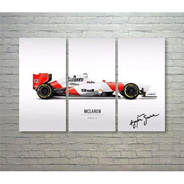 Quadro Ayrton Senna Mclaren Mp4/4 Asm-13 Fórmula 1 em MDF