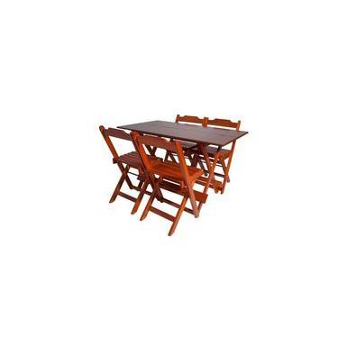 Conjunto Com Jogo De Mesa 120x70 Com 4 Cadeiras Dobráveis Mel - Reisol Móveis