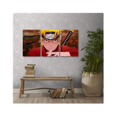 Quadro decorativo Naruto Uzumaki Sennin em Tecido 3 Peças