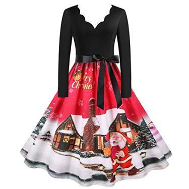 ZEFOTIM Vestido de Halloween Natal 2020, vestido feminino vintage de manga comprida anos 50 para dona de casa para festa noturna, Christmas#25, Medium