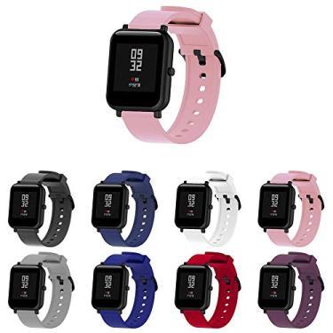 Pulseira Silicone para Huami Amazfit Bip Lite - Galaxy Watch Active 40mm - Galaxy Watch 42mm - Amazfit GTR 42mm - Marca Ltimports (Rosa)
