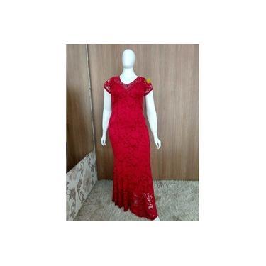 Vestido longo Plus (Vermelho)
