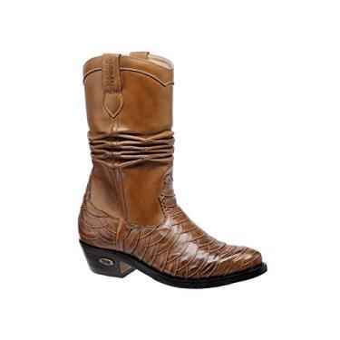 Bota Texana Escamada Hb Agabe Boots 200.000e - Lt Marrom+havana - Solado de Couro com Borracha Bota Texana Escamada Hb Agabe Boots 200.000e - Lt Marrom+havana - Numero:39