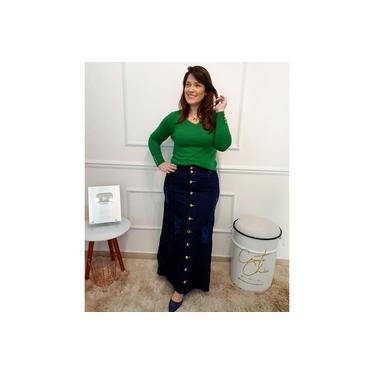 Saia Jeans Longa Evangélica Plus Size Moda Feminina
